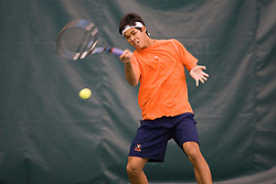 #1 ranked Somdev Devvarman in action against Texas.  The #1 ranked Virginia Cavaliers men's tennis team defeated the #5 ranked Texas Longhorns 5-2 at the Boyd Tinsley Courts at the Boar's Head Inn and Resort in Charlottesville, VA on February 29, 2008.