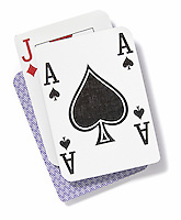 Ace and jack playing cards on white background