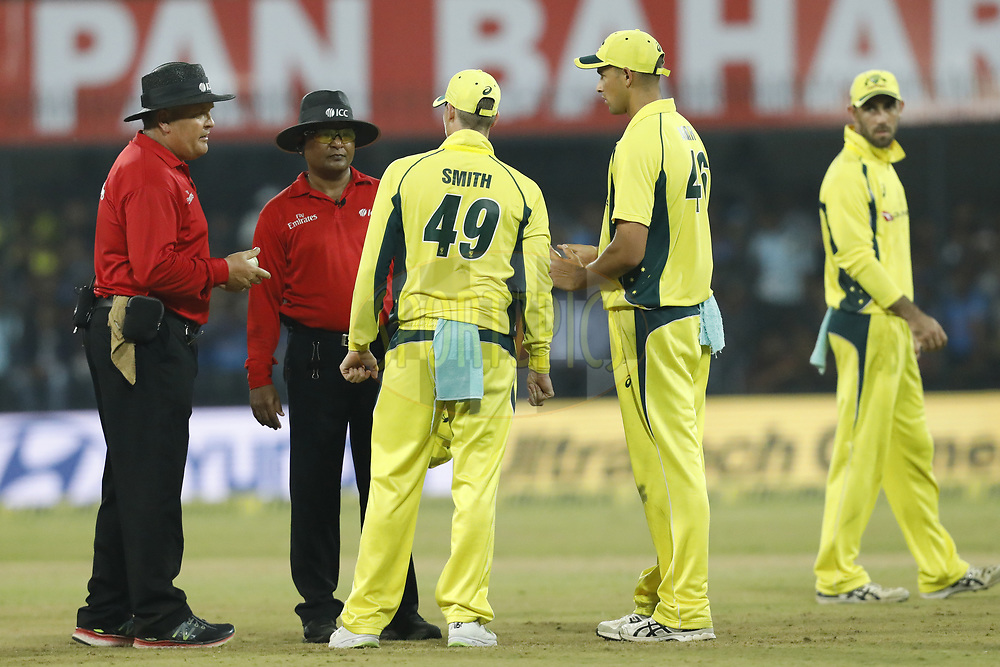 Steven Smith captain of Australia talk with umpires during the 3rd One Day International between India and Australia held at the Holkar Stadium in Indore on the 24th  September 2017<br /> <br /> Photo by Arjun Singh / BCCI / SPORTZPICS