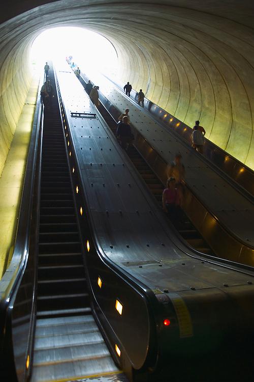 Escalator from DuPont Circle train station Washington DC USA&#xA;<br />