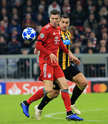 07.11.2018, Champions League, FC Bayern vs AEK Athen, Allianz Arena  Muenchen,  Fussball, Sport, im Bild:..Robert Lewandowski (FCB) vs Vasilios Lampropoulos ( AEK Athen )...DFL REGULATIONS PROHIBIT ANY USE OF PHOTOGRAPHS AS IMAGE SEQUENCES AND / OR QUASI VIDEO...Copyright: Philippe Ruiz..Tel: 089 745 82 22.Handy: 0177 29 39 408.e-Mail: philippe_ruiz@gmx.de. (Credit Image: © Philippe Ruiz/Xinhua via ZUMA Wire)