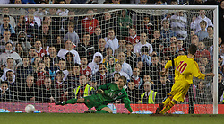 Manchester, England - Thursday, April 26, 2007: Liverpool's Ryan Flynn scores his side's third penalty of the shoot-out past Manchester United's goalkeeper Ron-Robert Zieler during the FA Youth Cup Final 2nd Leg at Old Trafford. (Pic by David Rawcliffe/Propaganda)