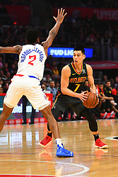 January 29, 2019 - Los Angeles, CA, U.S. - LOS ANGELES, CA - JANUARY 28: Atlanta Hawks Guard Jeremy Lin (7) is defended by Los Angeles Clippers Guard Shai Gilgeous-Alexander (2) during a NBA game between the Atlanta Hawks and the Los Angeles Clippers on January 28, 2019 at STAPLES Center in Los Angeles, CA. (Photo by Brian Rothmuller/Icon Sportswire) (Credit Image: © Brian Rothmuller/Icon SMI via ZUMA Press)