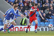 Rochdale forward Ian Henderson strikes at goal during the EFL Sky Bet League 1 match between Chesterfield and Rochdale at the Proact stadium, Chesterfield, England on 25 March 2017. Photo by Aaron  Lupton.