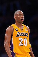 02 April 2013: Guard (20) Jodie Meeks of the Los Angeles Lakers against the Dallas Mavericks during the first half of the Lakers 101-81 victory over the Mavericks at the STAPLES Center in Los Angeles, CA.