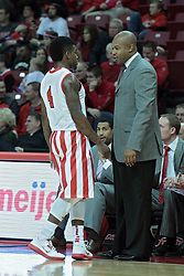 01 February 2014:  Bobby Hunter talks with Torrey Ward during an NCAA Missouri Valley Conference (MVC) mens basketball game between the Drake Bulldogs and the Illinois State Redbirds  in Redbird Arena, Normal IL.