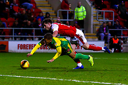 Ryan Manning of Rotherham United falls over Dwight Gayle of West Bromwich Albion - Mandatory by-line: Ryan Crockett/JMP - 22/12/2018 - FOOTBALL - Aesseal New York Stadium - Rotherham, England - Rotherham United v West Bromwich Albion - Sky Bet Championship