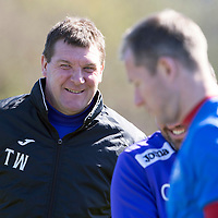 St Johnstone Training..18.04.14<br /> Manager Tommy Wright all smiles in training this morning ahead of tomorrow's game against Dundee United.<br /> Picture by Graeme Hart.<br /> Copyright Perthshire Picture Agency<br /> Tel: 01738 623350  Mobile: 07990 594431