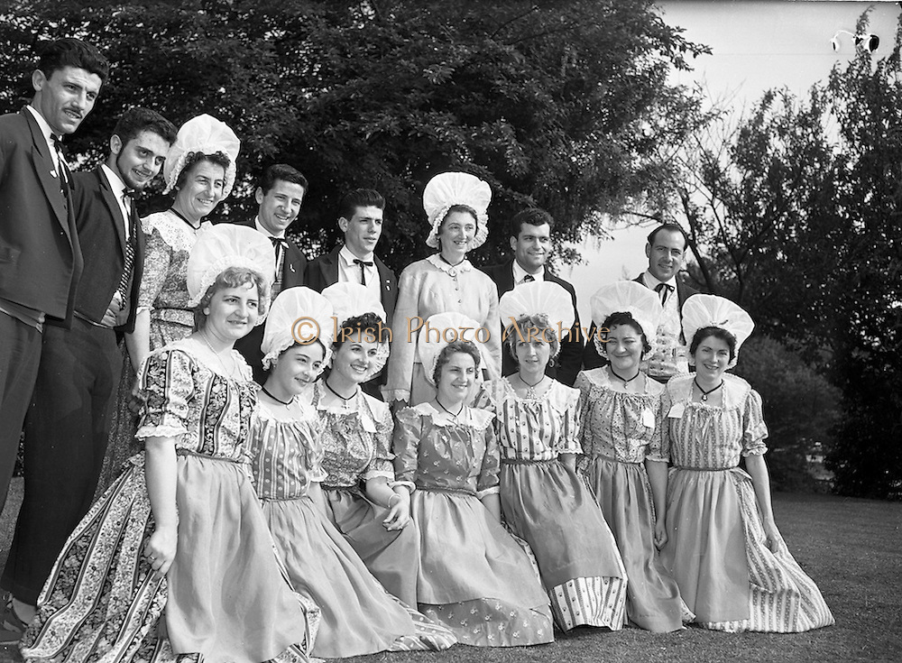 15/05/1959<br /> 05/15/1959<br /> 15 May 1959<br /> International Folk dancers at Wills tobacco factory. About sixty folk dancers from France, Denmark, India, Netherlands, Switzerland and Ireland, who were performing at the National Stadium, toured the W.D. & H.O. Wills factory at South Circular Road, Dublin. Afterwards they gave a performance in the factory garden. Picture shows the French dancers after the tour of the factory.