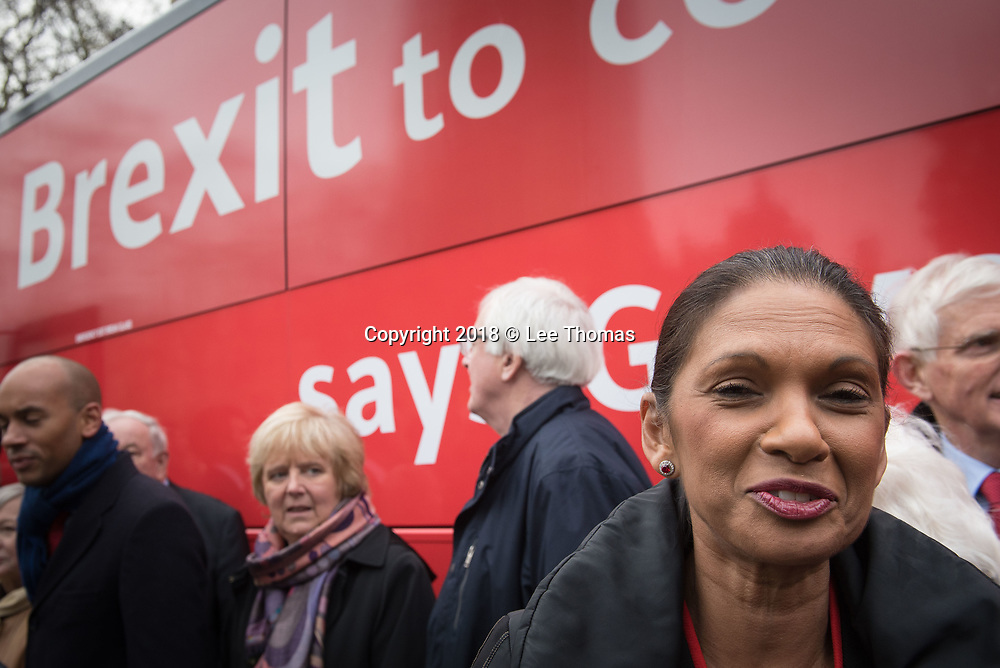 College Green, Westminster, London, UK. 21st February 2018. Leading anti-Brexit campaigner Gina Miller joins scores of other supporters at College Green Westminster to voice their opinions and to show support for the start of a anti-Brexit campaign bus which is to make  33 stops across the country over the next 8 days.  // Lee Thomas, Tel. 07784142973. Email: leepthomas@gmail.com  www.leept.co.uk (0000635435)