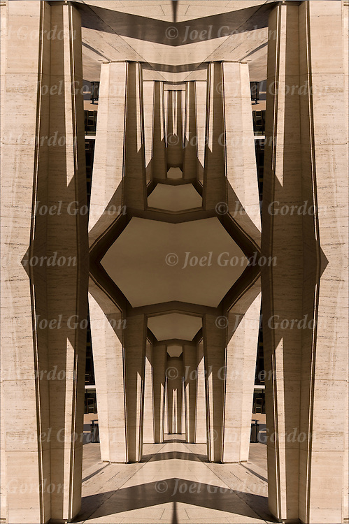 Four images of exterior arches and  shadows mirrored two times, forming diamond shape design