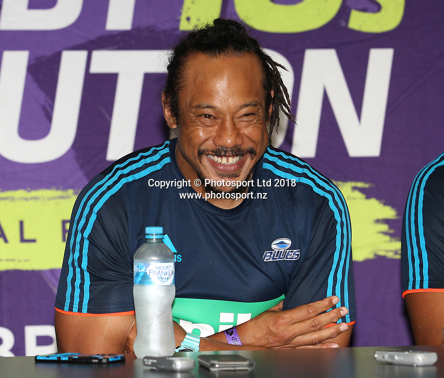Blues coach Tana Umaga at the press conference after winning the final match between the Hurricanes and the Blues during the Global Tens Tournament at Suncorp Stadium, Brisbane, Australia on February 10, 2018. Photo : Tertius Pickard / www.photosport.nz