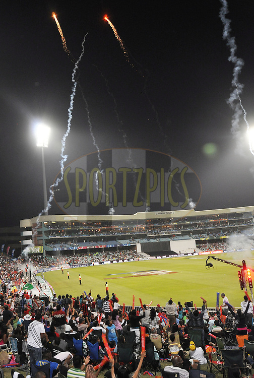 DURBAN, SOUTH AFRICA - 24 April 2009. Flares launched to celebrate a six being hit during the IPL Season 2 match between the Royal Challengers Bangalore and the Kings X1 Punjab held at Sahara Stadium Kingsmead, Durban, South Africa..