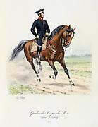 Mounted member of the King's guard. 1815.  From 'Histoire de la maison militaire du Roi de 1814 a 1830' by Eugene Titeux, Paris, 1890.