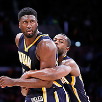 04 January 2014: Indiana Pacers center Roy Hibbert (55) is restrained by Indiana Pacers guard Rodney Stuckey (2) during the Los Angeles Lakers 88-87 victory over the Indiana Pacers, at the Staples Center, Los Angeles, California, USA.