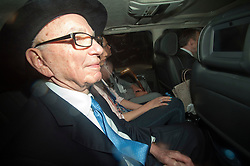 © London News Pictures. 26/04/2012. London, UK. Rupert Murdoch being driven from The High Court in London on April 26, 2012 after giving evidence to the Leveson inquiry.  Photo credit : Ben Cawthra /LNP