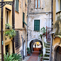 La Pigna Narrow Cobblestone Walkway in San Remo, Italy <br />