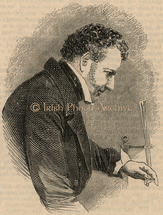 John Frederic Daniell (1790-1845) English chemist, physicist and meteorologist. Among his inventions were the Daniell cell, a wet storage battery, and a hygrometer.  From 'The Book of Days' edited by Robert Chambers (London, 1869).  Engraving.