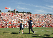 COLLEGE FOOTBALL:  Stanford vs Cal in the Big Game on Novermber 20, 1993 at Stanford Stadium in Palo Alto, California.  Cal quarterback Dave Barr #16 and Head Coach Keith Gilbertson.   Photograph by David Madison | www.davidmadison.com