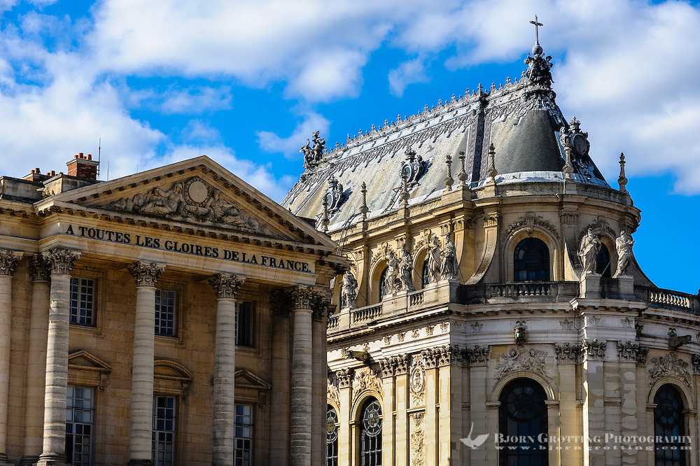 The Palace of Versailles, or simply Versailles, is a royal château close to Paris, France. Pavillon Gabriel and Chapelle Royale.