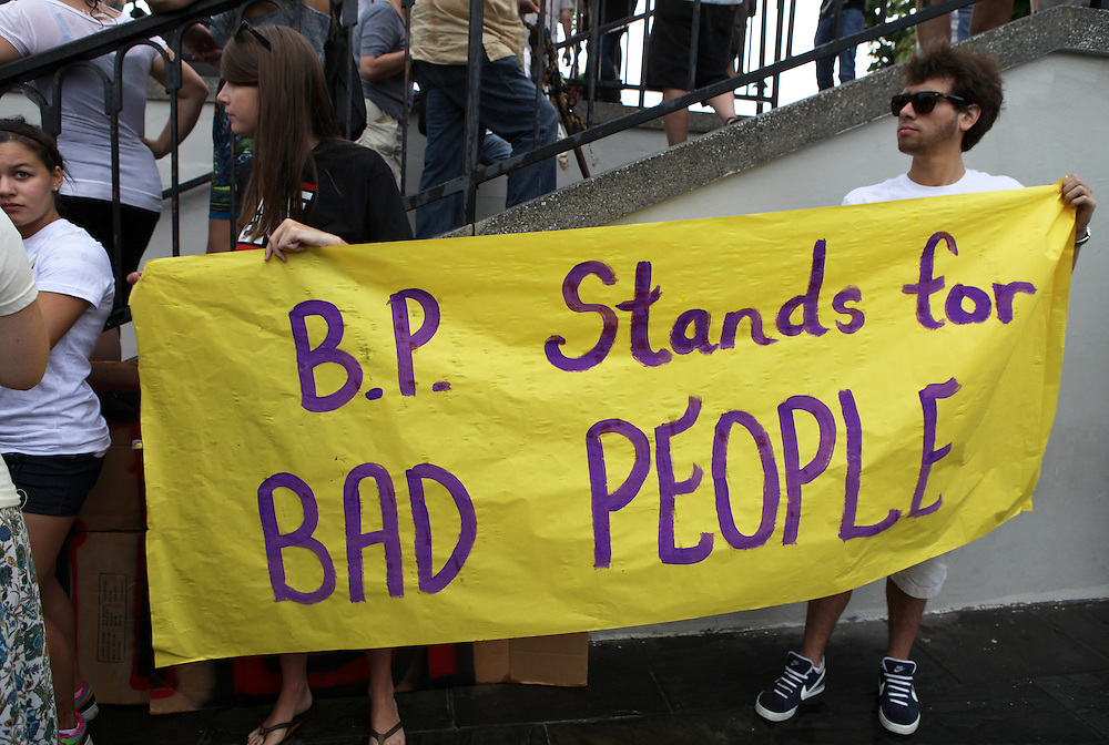 Protesters at a rally against the British Petroleum Deepwater Horizon Oil Leak in the Gulf of Mexico in New Orleans Sunday May 30, 2010 <br />  in Jackson Square, New Orleans. Locals turn out in the hundreds at a protest against the British Petroleum Deepwater Horizon Oil leak in the Gulf of Mexico in New Orleans Sunday May 30, 2010.