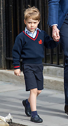 © Licensed to London News Pictures. 23/04/2018. London, UK. Prince George of Cambridge arrives at the Lindo Wing of St Mary's Hospital in west London with with his father, the Duke of Cambridge (not pictured) and sister Princess Charlotte of Cambridge (not pictured). His mother, the Duchess of Cambridge has given birth to her third son, safely delivered at 11:01 AM today. He weighed 8lbs 7oz and is fifth in line to the throne. Photo credit : Tom Nicholson/LNP