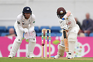 Ollie Pope of Surrey nudges a quick single to bring up his 50 during the Specsavers County C'ship Div One match at the Kia Oval, London<br /> Picture by Simon Dael/Focus Images Ltd 07866 555979<br /> 11/05/2018