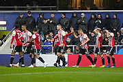 GOAL 0-1 Brentford attacker Neal Maupay (9) scores and Brentford attacker Sergi Canós (7) celebrates during the EFL Sky Bet Championship match between Queens Park Rangers and Brentford at the Loftus Road Stadium, London, England on 10 November 2018.