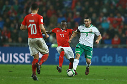 November 12, 2017 - Basel, Switzerland - Denis Zakaria of Switzerland and Conor Washington of Northern Ireland  during the FIFA 2018 World Cup Qualifier Play-Off: Second Leg between Switzerland and Northern Ireland at St. Jakob-Park on November 12, 2017 in Basel, Basel-Stadt. (Credit Image: © Matteo Ciambelli/NurPhoto via ZUMA Press)