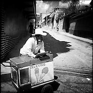 Ice cream vendor. Nebaj, Quiche, Guatemala. April 5, 2014.