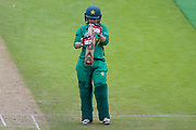 Pakistan womens cricket player Javeria Wadood examines her bat during the ICC Women's World Cup match between England and Pakistan at the Fischer County Ground, Grace Road, Leicester, United Kingdom on 27 June 2017. Photo by Simon Davies.
