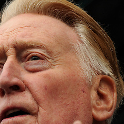 Hall of Fame broadcaster Vin Scully speaks during the fourth annual offseason FanFest on Saturday, Jan. 30, 2016 in Los Angeles. <br /> (Photo by Keith Birmingham/ Pasadena Star-News)