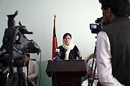 MP Fawzia Koofi gives a speech in the governors office in front of the Badakshan Provincial council while visiting her home province during the summer. Faizabad, Afghanistan, 2012