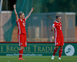 NEWPORT, WALES - Tuesday, June 12, 2018: Wales' Jessica Fishlock celebrates at the final whistle after beating Russia 3-0 during the FIFA Women's World Cup 2019 Qualifying Round Group 1 match between Wales and Russia at Newport Stadium. (Pic by David Rawcliffe/Propaganda)