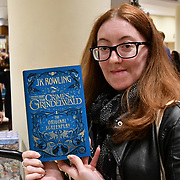 Nicola Chard is the first person attends Waterstones Piccadilly hosting a midnight launch to celebrate publication of the latest Fantastic Beasts screenplay on Thursday, 15th November 2018, London, UK.