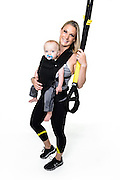 Fitness trainer and TRX instructor Shana Verstegen is pictured with her fourteen-month-old son, Greyson, in a studio portrait in Madison, Wis., on Aug. 21, 2016. (Photo by Jeff Miller, www.jeffmillerphotography.com)