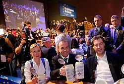 06.03.2019, Dreiländerhalle, Passau, GER, Politischer Aschermittwoch der CSU, im Bild Manfred Weber, links seine Ehefrau, rechts Markus Söder, mit einer Maß Bier // during the Political Ash Wednesday of the CSU Party at the Dreiländerhalle in Passau, Germany on 2019/03/06. EXPA Pictures © 2019, PhotoCredit: EXPA/ SM<br /> <br /> *****ATTENTION - OUT of GER*****