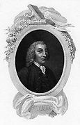 Tobias George Smollett (1721-171) Scottish-born British novelist, 1803. His best known work is 'The Adventures of Roderick Random' (1748).  Engraving. Writer. Author. English Literature.