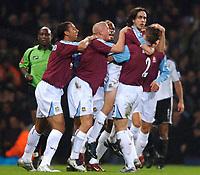 Photo: Daniel Hambury.<br />West Ham United v Fulham. The Barclays Premiership. 23/01/2006.<br />West Ham's Yossi Benayoun (2nd right) celebrates his goal with team mates.