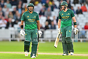 Samit Patel and Riki Wessels during the Natwest T20 Blast North Group match between Nottinghamshire County Cricket Club and Worcestershire County Cricket Club at Trent Bridge, West Bridgford, United Kingdom on 26 July 2017. Photo by Simon Trafford.