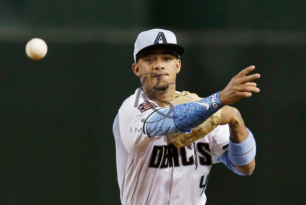 Arizona Diamondbacks shortstop Ketel Marte (4) in the first inning during a baseball game against the New York Mets, Sunday, June 17, 2018, in Phoenix. (AP Photo/Rick Scuteri)