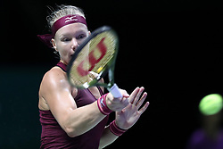 October 27, 2018 - Singapore - Kiki Bertens of the Netherlands returns a shot during the semi final match between Elina Svitolina and Kiki Bertens on day 7 of the WTA Finals at the Singapore Indoor Stadium. (Credit Image: © Paul Miller/ZUMA Wire)