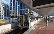 A DC metro train aapproaches Noma-Gallaudet U Station in NoMa neighborhood of Washington DC.