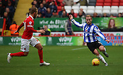 Sheffield Wednesday midfielder Barry Bannan trying to create something out of nothing during the Sky Bet Championship match between Charlton Athletic and Sheffield Wednesday at The Valley, London, England on 7 November 2015. Photo by Matthew Redman.