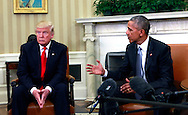 President Barack Obama and President Elect Donald Trump meeting in the Oval Office on November 10, 2016<br /> <br /> Photo by Dennis Brack