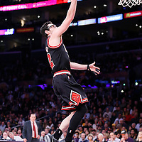 09 February 2014: Chicago Bulls shooting guard Kirk Hinrich (12) goes for the layup during the Chicago Bulls 92-86 victory over the Los Angeles Lakers at the Staples Center, Los Angeles, California, USA.