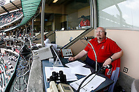May 5, 2007: Announcer David Courtney at his seat inside the booth as the Chicago White Sox played the Los Angeles Angels of Anaheim at Anaheim Stadium in Anaheim, CA. White Sox defeated the Angels 6-3 in regulation..
