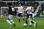 Derby midfielder Jacob Butterfield wins the ball in midfield during the Sky Bet Championship match between Derby County and Bolton Wanderers at the iPro Stadium, Derby, England on 9 April 2016. Photo by Aaron  Lupton.