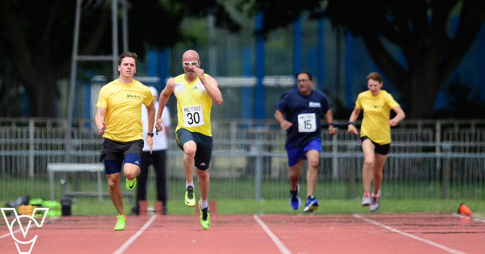 Metro Blind Sport's 2017 Athletics Open held at Mile End Stadium.  100m.  Amir Kamali-Sarvestani with guide runner, left, and Atif Umer with guide runner<br /> <br /> Picture: Chris Vaughan Photography for Metro Blind Sport<br /> Date: June 17, 2017