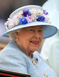 Queen Elizabeth II during the royal procession during day two of Royal Ascot at Ascot Racecourse.